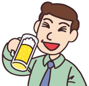 美味しそうにビールを飲む